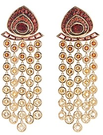 Marina B 18K Yellow Gold Pampilles Citrine, Garnet & Orange Sapphire Chandelier Earrings