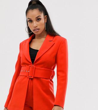 Club L London Petite longline blazer with belt detail in blood orange