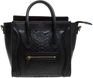 Celine Black Python and Leather Nano Luggage Tote
