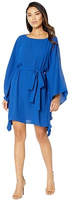 MICHAEL Michael Kors Asymmetrical Embellished Boat Neck Dress (Twilight Blue) Women's Dress