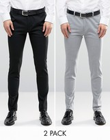 Asos 2 Pack Super Skinny Pants In Black And Grey