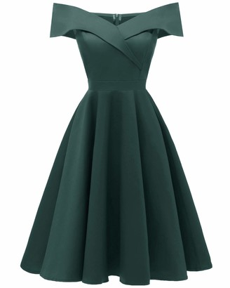 Viloree Empire Women Dress 50s Off Shoulder Swing Party Cocktail Knee Length Cotton Navy M