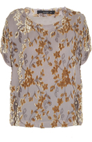 Etro Floral-flocked crepon top