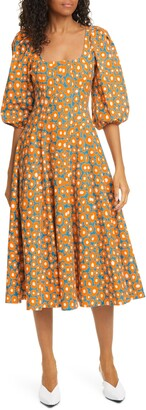 STAUD Swells Daisy Print Stretch Linen & Cotton Dress