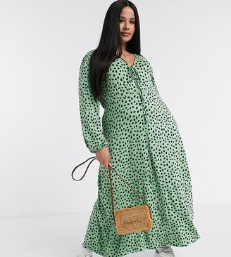 ASOS DESIGN Curve midi tea dress with tie detail in green polka dot