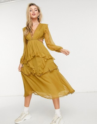 ASOS DESIGN midi dress with long sleeve and circle trim