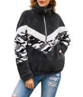 Kirundo KIRUNDO 2019 Winter Women's Long Sleeves Sweatshirts Half Zipper Pullovers Fleece Sherpa Outwear Coat Tops with Pockets (Medium