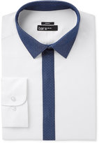 Bar III Men's Slim-Fit Stretch and Easy Care White with Indigo Contrast Dress Shirt, Created for Macy's