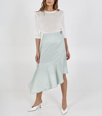 New Look Blue Vanilla Satin Asymmetric Midi Skirt