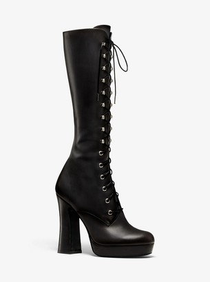 Michael Kors Deandra Calf Leather Platform Boot