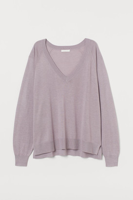 H&M V-neck Sweater - Purple
