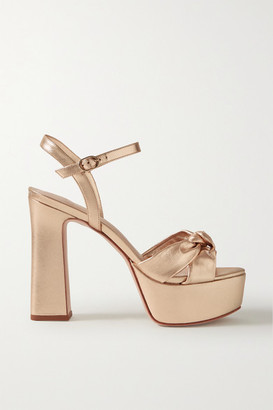 PORTE & PAIRE Knotted Metallic Leather Platform Sandals - Gold