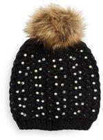 Cara Studded Faux Fur Knit Beanie