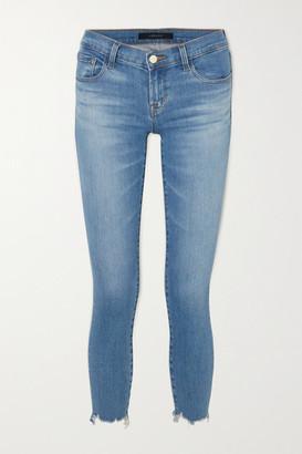 J Brand Cropped Distressed Low-rise Skinny Jeans - Mid denim