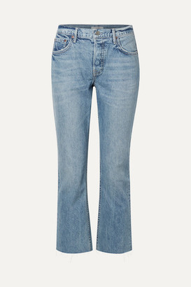 GRLFRND Tatum Cropped Frayed Mid-rise Straight-leg Jeans - Light denim