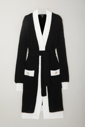 Balmain Belted Two-tone Ribbed-knit Cardigan - Black
