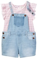 Jessica Simpson Stripe Top & Shortall Set (Toddler Girls)