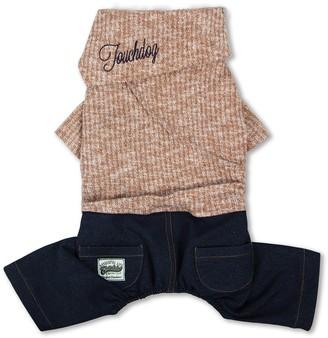 Touchdog Vogue Neck-Wrap Sweater & Denim Outfit - Peach - Medium