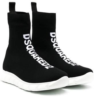 DSQUARED2 TEEN jacquard logo mesh sneakers