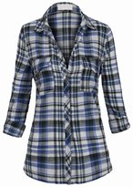 Hot From Hollywood Women's Classic Collar Button Down Lightweight Long Roll Tab Sleeve Plaid Shirt