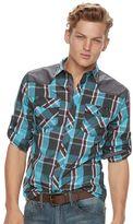 Rock & Republic Men's Shoulder-Patch Plaid Button-Down Shirt
