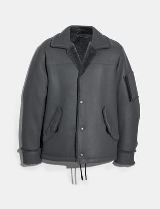 Coach Shearling Snap Front Jacket