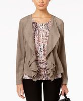 NY Collection Faux-Suede Cascade Jacket