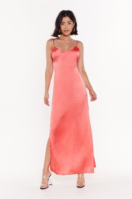 Nasty Gal Womens Low Back Satin Slip Dress - Coral