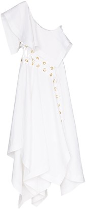 Alexander McQueen Asymmetric Eyelet Dress