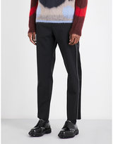 Oamc Contrast-stitching stretch-wool trousers