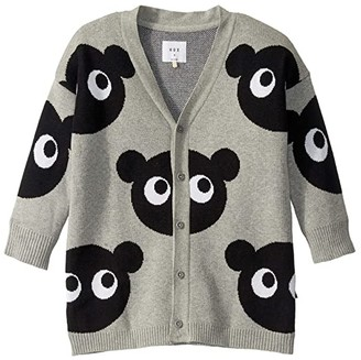 HUXBABY Shadow Bear Knit Cardigan (Little Kids/Big Kids) (Grey Marle) Kid's Clothing