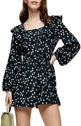 Topshop Daisy Print Ruffle Long Sleeve Playsuit