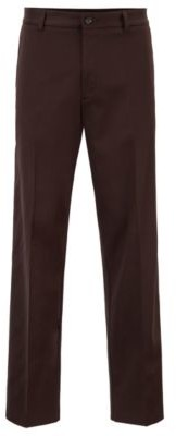 HUGO BOSS Relaxed Fit Pants With Front Crease In Twill Gabardine - Dark Brown