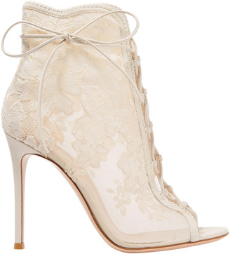 Gianvito Rossi Giada 100 Lace-up Leather-trimmed Lace And Mesh Ankle Boots