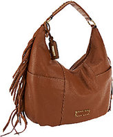 Tignanello As Is Pebble Leather Zip Top Hobo Bag w/ Fringe