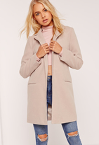 Missguided Short Tailored Faux Wool Coat Nude