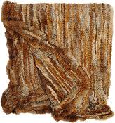 Adrienne Landau Knitted Fur Throw-BROWN