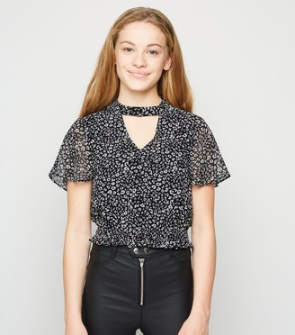 New Look Girls Chiffon Leopard Print Choker Top