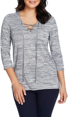 Chaus Lace-Up Neck Space Dye Top