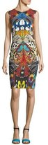 Roberto Cavalli Sleeveless Butterfly-Print Fitted Cocktail Dress