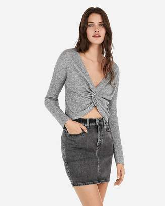Express High Waisted Vintage Black Wash Jean Mini Skirt