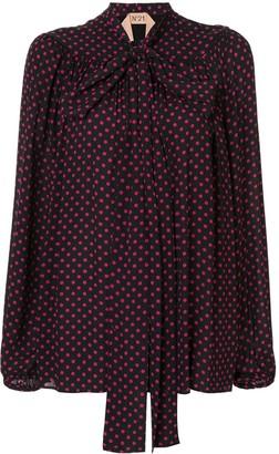 No.21 polka dot printed blouse