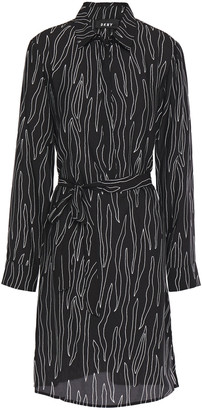 DKNY Printed Crepe Mini Shirt Dress
