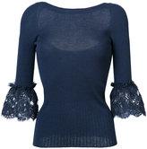 Oscar de la Renta lace bell sleeved blouse - women - Merino - XS