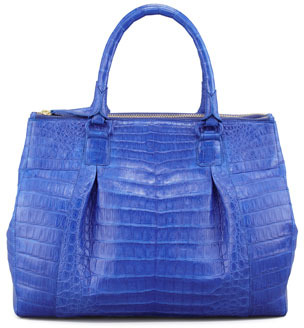 Nancy Gonzalez Executive Double-Zip Crocodile Tote Bag, Cobalt