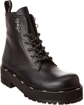Fendi Lace-Up Leather Combat Boot