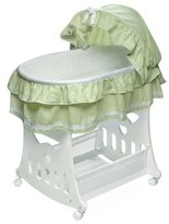 Badger Basket Portable Bassinet 'N Cradle with Toybox Base Sage Waffle Ruffled Half Skirt