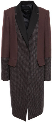 Equipment Blocked Arostide Felt-paneled Houndstooth Wool-blend Coat
