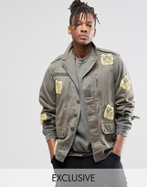 Reclaimed Vintage Camo Jacket With Tiger Patches