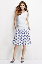 Lands' End Women's Embroidered A-line Skirt-White Canvas Stripe